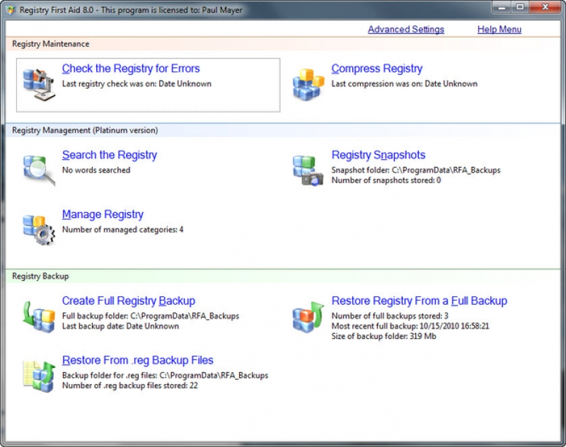 Registry First Aid 11.1.0.2492