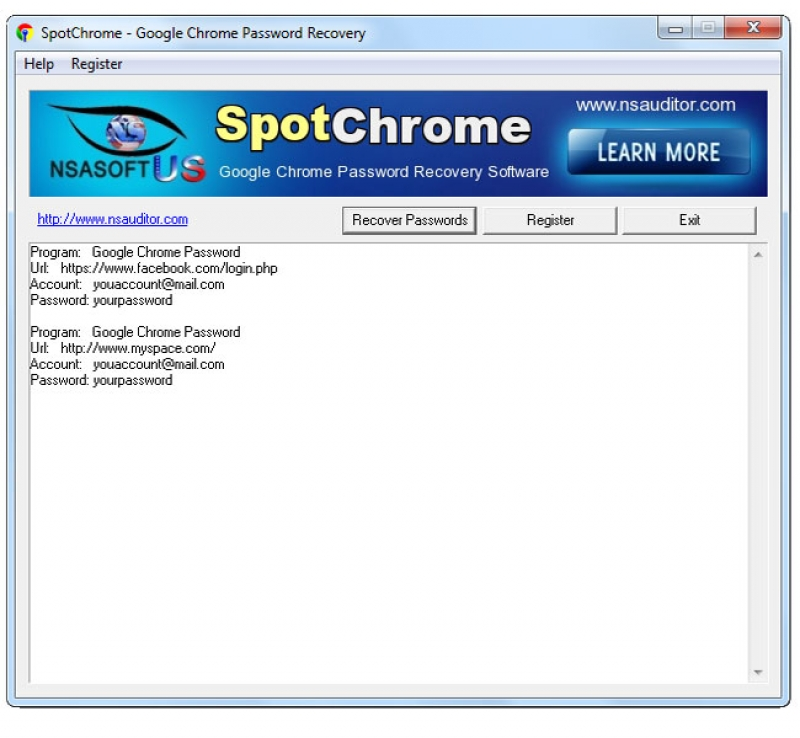 SpotChrome Password Recovery 1.3.4