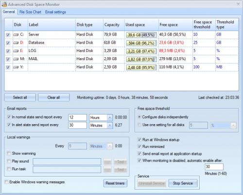 Advanced Disk Space Monitor 4.05
