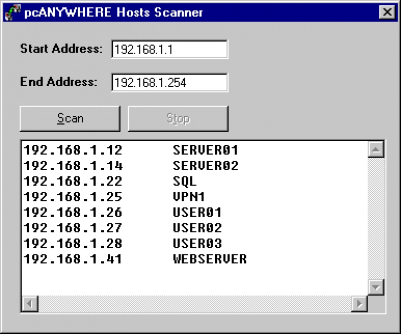 pcANYWHERE Hosts Scanner 1.01